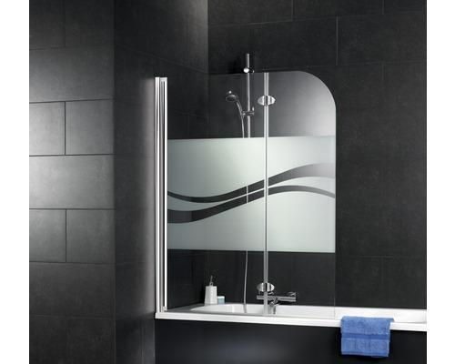 Pare-baignoire Schulte ExpressPlus 2 parties 112 cm décor Liane aspect chrome