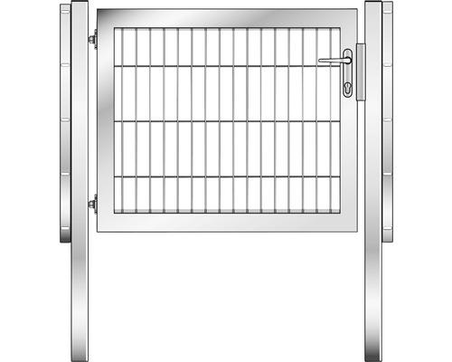 Portail à un vantail 100x80cm, avec poteaux à sceller dans le béton, galvanisé à chaud