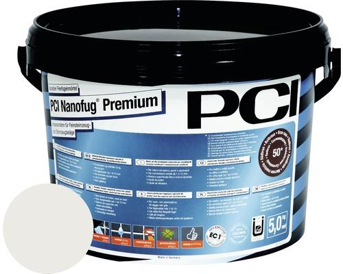 Mortier Flex de jointoiement variable PCI Nanofug Premium pour tous les carrelages et pierres naturelles gris argent 5 kg
