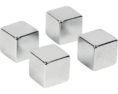 Aimants décoratifs Magic Cube set de 4 argent