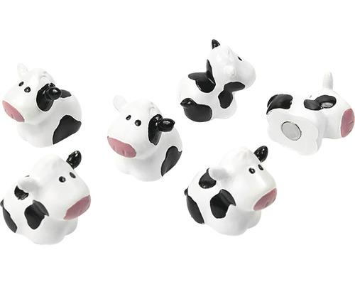 Aimants décoratifs Vache set de 6 blanc/noir