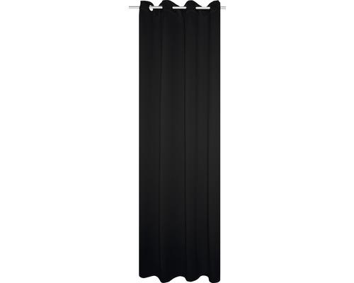 Voilage à œillets Thermo-Blackout noir 245x135cm