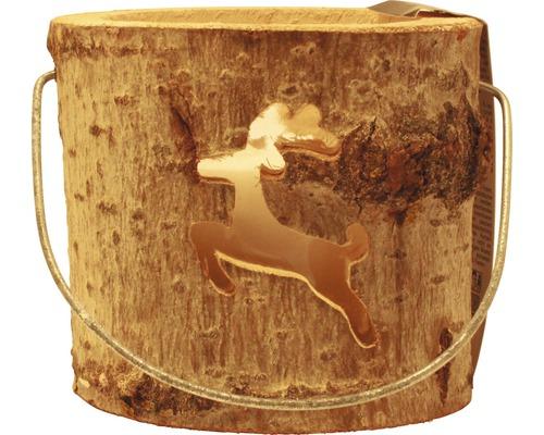 Lanterne en bois renne Ø 18 x H 15cm marron