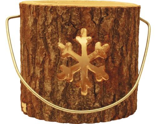 Lanterne en bois flocon de neige Ø 18 x H 15cm marron