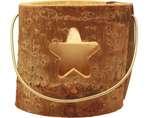 Lanterne en bois étoile Ø 18 x H 15cm marron
