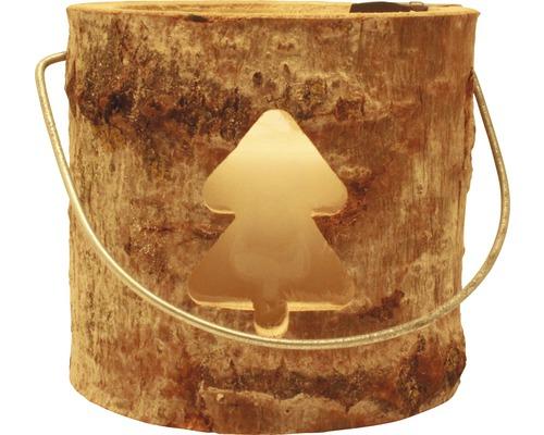 Lanterne en bois sapin de Noël Ø 18 x H 15cm marron