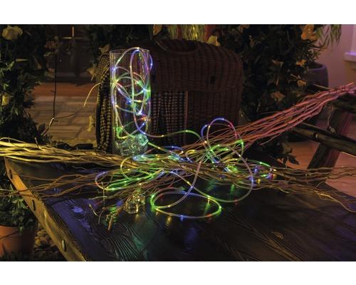 Cordon lumineux LED Lafiora extérieur et intérieur à piles 9,75 m multicolore avec fonction minuterie et contrôleur, 8fonctions différentes