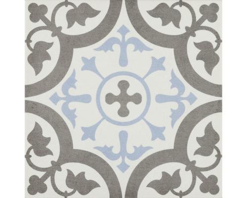 Carrelage décoratif en grès cérame fin mélange Brügge bleu 22,3x22,3 cm