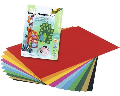 Bloc de papier coloré DIN A4 multicolore 20feuilles