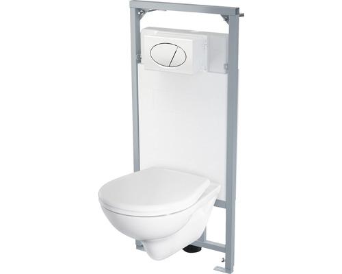 Kit pour WC suspendu Grenada 5 en 1 bord de rinçage ouvert blanc avec revêtement