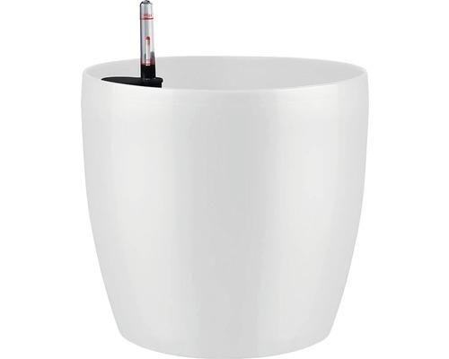 Pot de fleurs Lafiora en plastique Ø 35 H 32 cm, blanc brillant avec set d''irrigation de la terre et indicateur de niveau d''eau