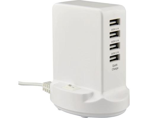 Chargeur rapide USB 4-Port blanc