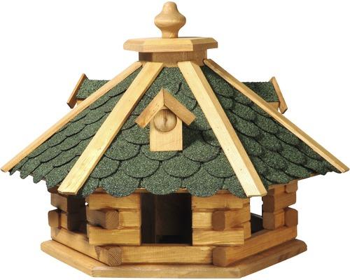 Abri-mangeoire pour oiseaux rustikal hexagonal à bardeaux 51x45x37cm