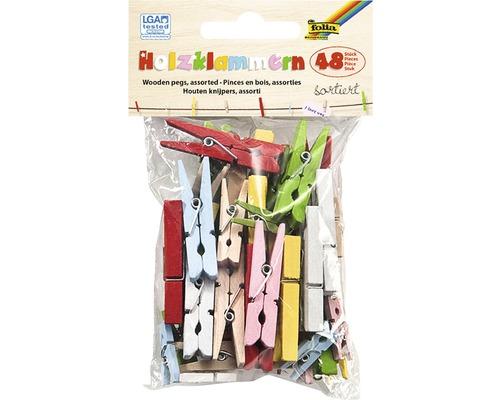 Pinces à linge en bois multicolores lot de 48