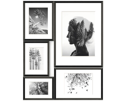 Cadre multivues 5 photos noir Forest Imp 53x65 cm