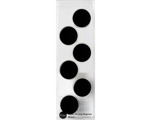 Aimants noirs Ø 2 cm lot de 6