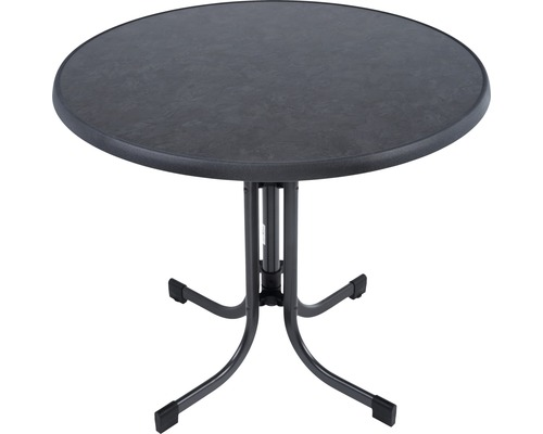 Table de jardin avec plateau de table Sevelit Ø 86 x h 72 cm pliante ardoise