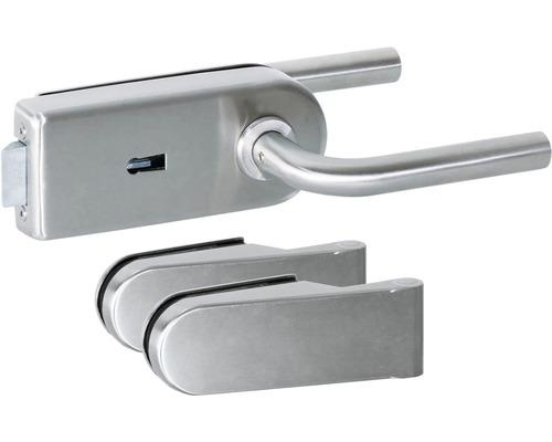 Kit de ferrures pour portes en verre aluminium anodisé verrouillable