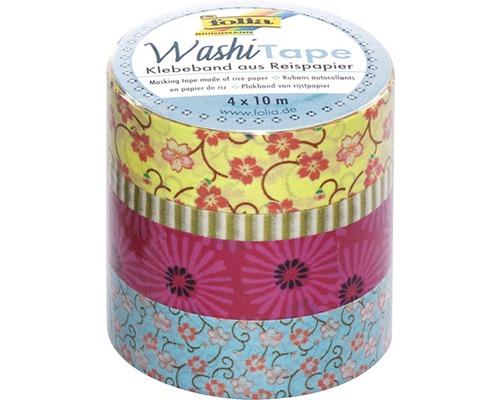 Washi Tape Pluie de fleurs lot de 4