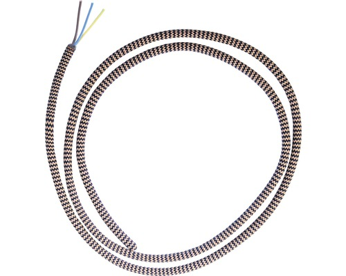 Câble textile H03VV-F 3x0,75 marron clair/zèbre au mètre