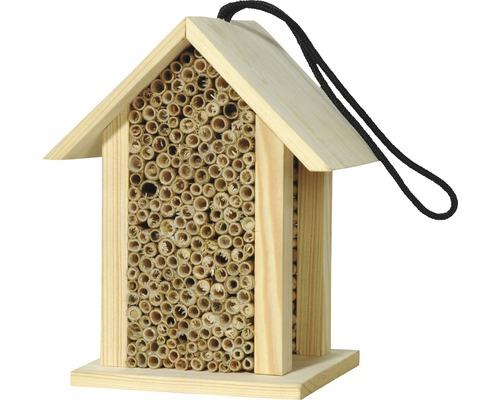 Hôtel à insectes avec roseau pour abeilles sauvages 15,5x11x19cm