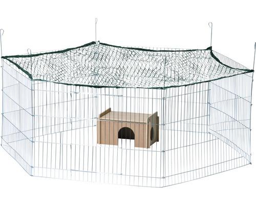 Enclos hexagonal avec cabane et filet de protection 165x145x60cm argent