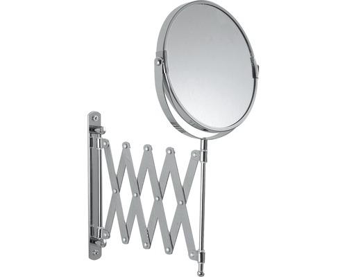 Kosmetikspiegel mit Scherenauszug doppelt vergrößernd