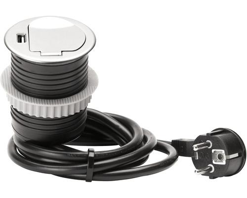 Multiprise à encastrer et USB noir/argent avec H05VV-F3G1,5mm² 1,5 m