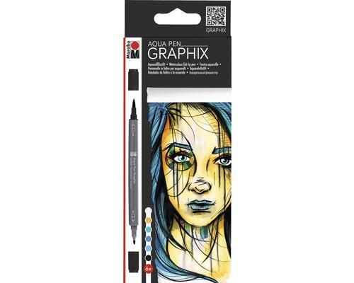 Crayons aquarelle Marabu Aqua Pen Metropolitan lot de 6