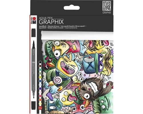 Crayons aquarelle Marabu Aqua Pen Graphix Mega Mash set de 12