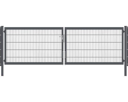 Portail à deux vantaux 400x100 cm galvanisé à chaud anthracite