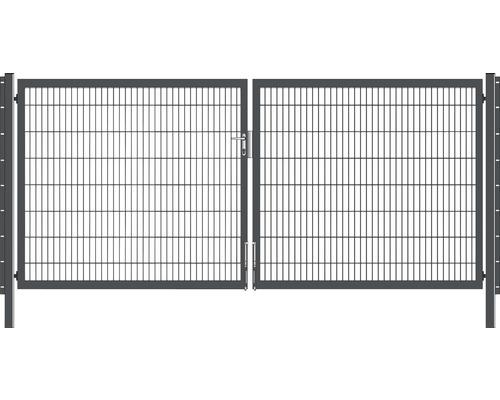 Portail à deux vantaux 400x160 cm galvanisé à chaud anthracite