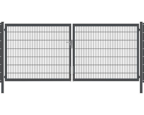 Portail à deux vantaux 400x140 cm galvanisé à chaud anthracite