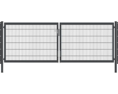 Portail à deux vantaux 400x120 cm galvanisé à chaud anthracite