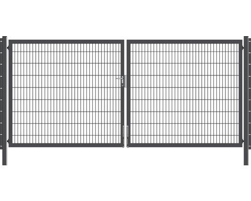 Portail à deux vantaux 400x180 cm galvanisé à chaud anthracite