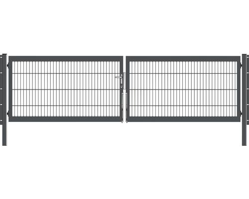 Portail à deux vantaux 400x80 cm galvanisé à chaud anthracite