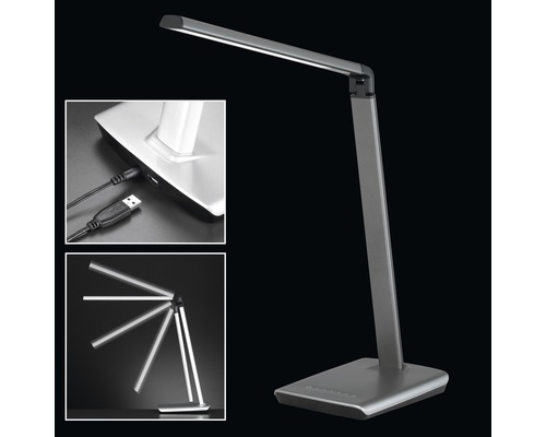 Lampe de bureau LED à intensité lumineuse variable 1x7,6 W 818 lm 3000 K blanc chaud h 790 mm Bragi couleur fer/gris