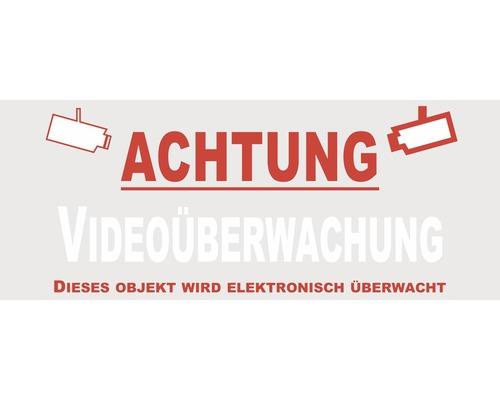 Autocollant «Attention: vidéosurveillance - Cet objet est sous surveillance électronique» 90x40 mm