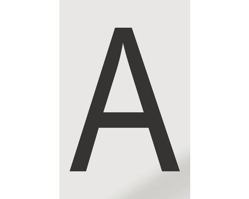 Autocollant lettre «A», alu noir imprimé, 60x100mm