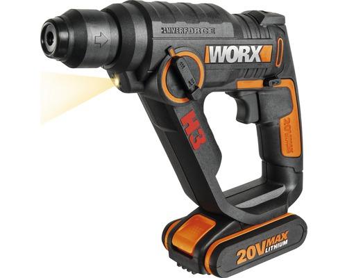 Kit de départ marteau perforateur sans fil Worx WX390.2 3 en 1 20 V Li (2,5 Ah), batterie et chargeur inclus