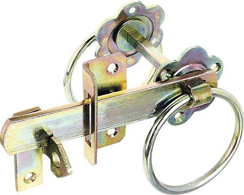 Loquet pour porte de jardin avec crochet, jaune zingué, 155 mm