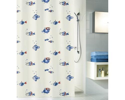 Rideau de douche Kleine Wolke Freddy bleu 180x200cm