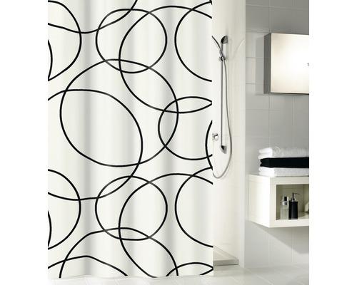 Rideau de douche Kleine Wolke Cercles noir/blanc 180 x 200 cm