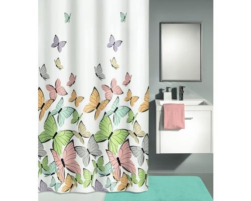 Rideau de douche Kleine Wolke Papillons multicolore 180 x 200 cm