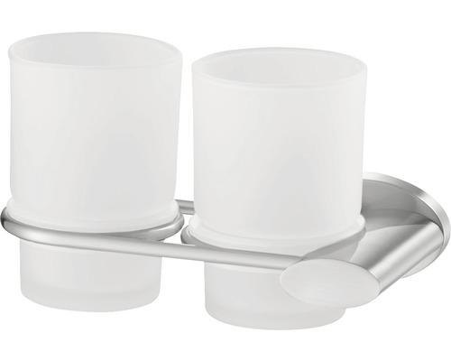 Double gobelet pour brosses à dents Side nickel mat