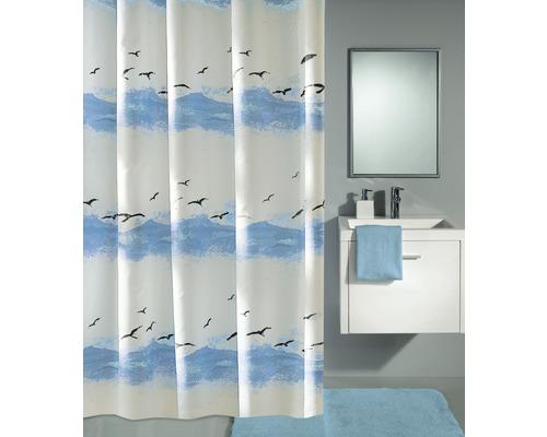 Rideau de douche Kleine Wolke Seaside bleu 180x200cm