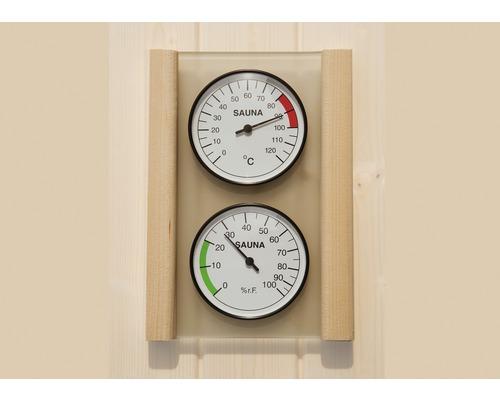Kit hygromètre et thermomètre pour sauna Weka, avec plateau en verre et cadre en bois