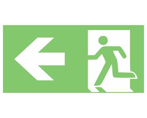 Panneau «Issue de secours» avec une flèche vers la gauche, phosphorescent 300x150 mm