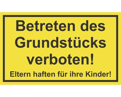 Panneau «Accès au terrain interdit!» Les enfants sont sous la responsabilité de leurs parents!» 250x150 mm
