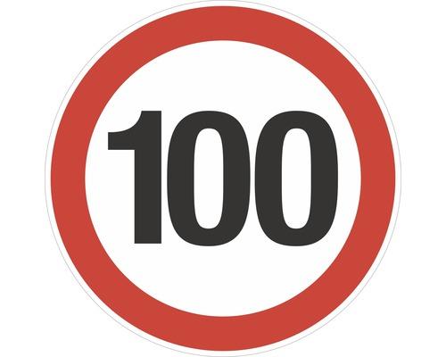 Autocollant «Limite de vitesse 100km/h» Ø200mm-0